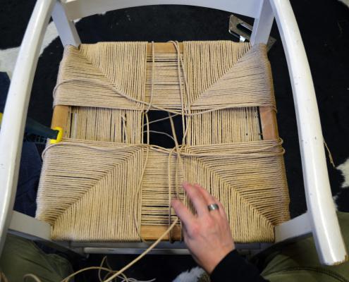 jærstol med papirgarn